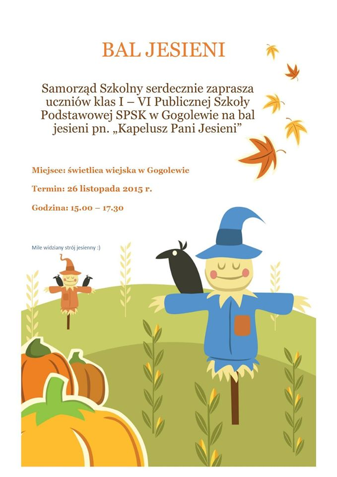 Zaproszenie Na Bal Jesieni 2015